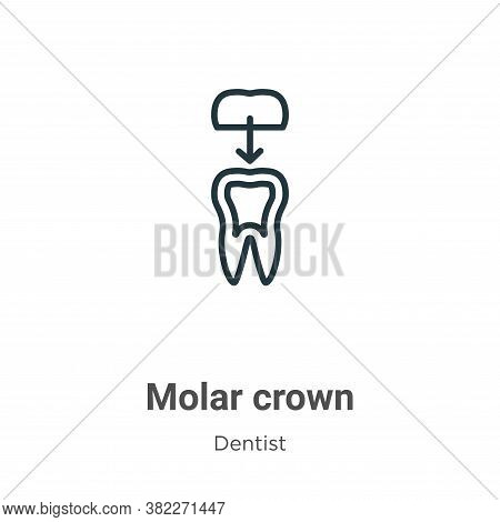 Molar crown icon isolated on white background from dentist collection. Molar crown icon trendy and m