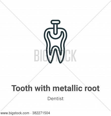 Tooth with metallic root icon isolated on white background from dentist collection. Tooth with metal
