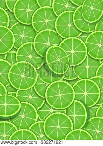 Overlapping Slices Of Lime Form A Lime Green Background Image.