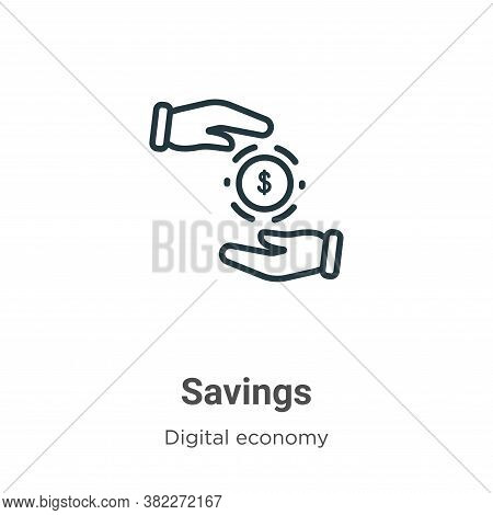 Savings icon isolated on white background from digital economy collection. Savings icon trendy and m