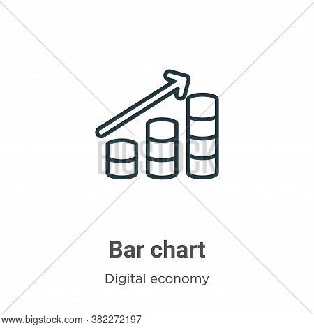 Bar chart icon isolated on white background from digital economy collection. Bar chart icon trendy a