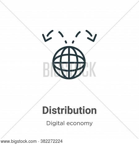 Distribution icon isolated on white background from digital economy collection. Distribution icon tr