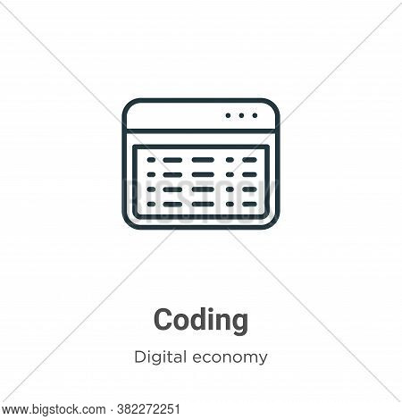 Coding icon isolated on white background from digital economy collection. Coding icon trendy and mod