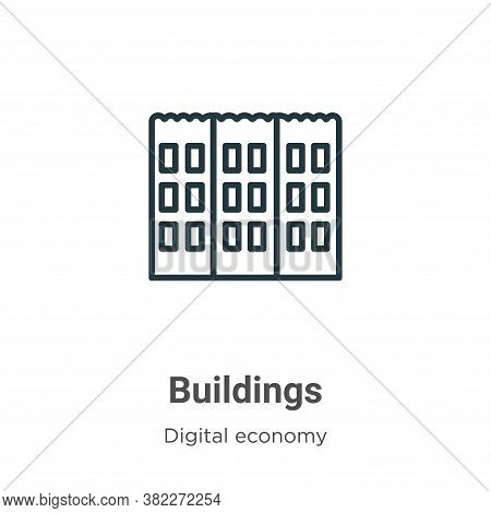Buildings icon isolated on white background from digital economy collection. Buildings icon trendy a