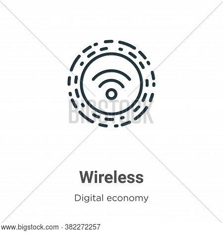 Wireless icon isolated on white background from digital economy collection. Wireless icon trendy and