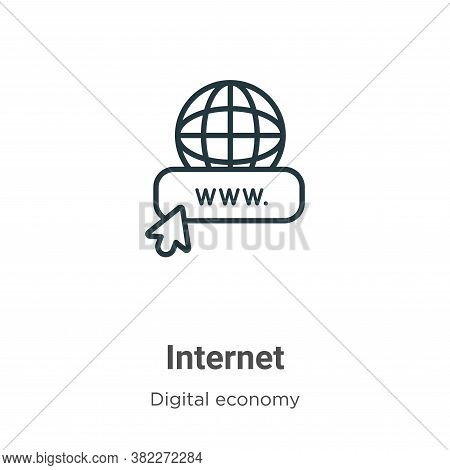 Internet icon isolated on white background from digital economy collection. Internet icon trendy and