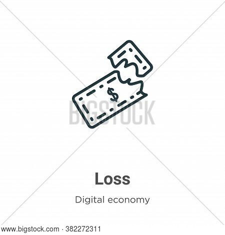 Loss icon isolated on white background from digital economy collection. Loss icon trendy and modern