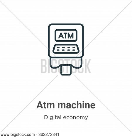 Atm machine icon isolated on white background from digital economy collection. Atm machine icon tren