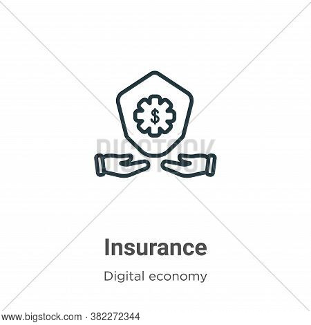 Insurance icon isolated on white background from digital economy collection. Insurance icon trendy a