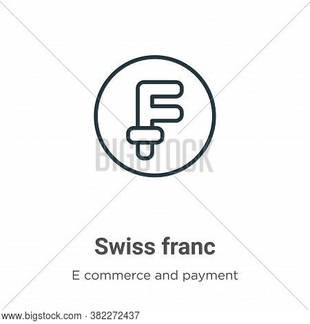 Swiss franc icon isolated on white background from e commerce and payment collection. Swiss franc ic