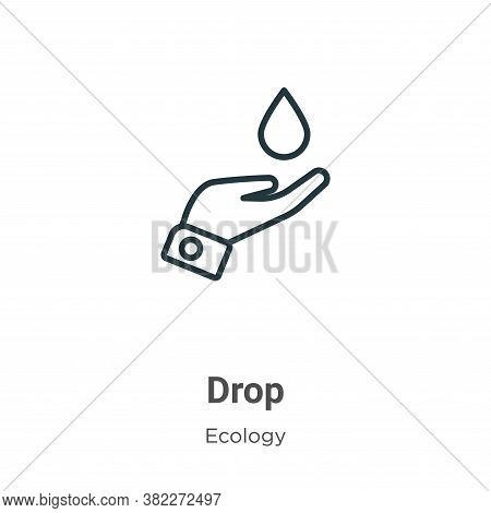 Drop icon isolated on white background from ecology collection. Drop icon trendy and modern Drop sym