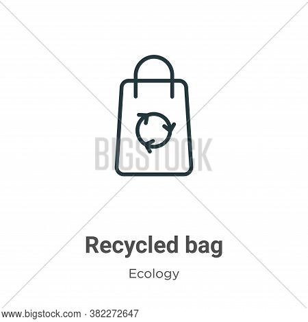 Recycled bag icon isolated on white background from ecology collection. Recycled bag icon trendy and