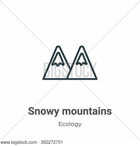 Snowy mountains icon isolated on white background from ecology collection. Snowy mountains icon tren