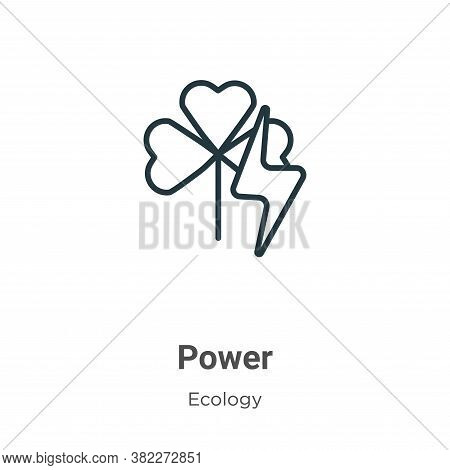 Green power icon isolated on white background from ecology collection. Green power icon trendy and m