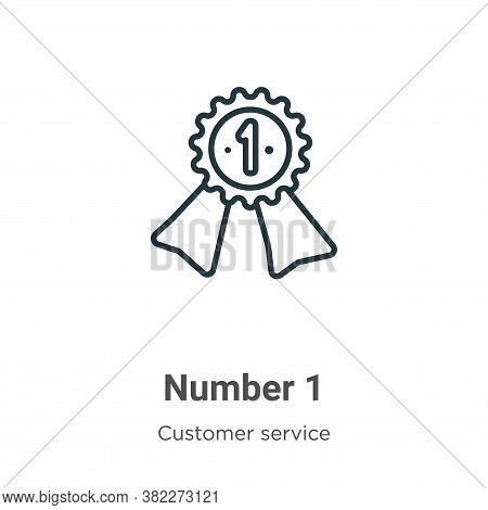 Number 1 icon isolated on white background from customer service collection. Number 1 icon trendy an