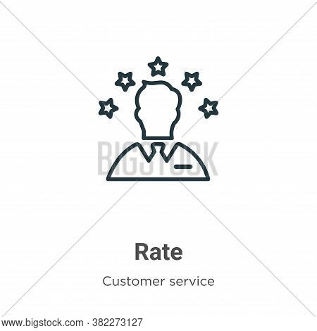 Rate icon isolated on white background from customer service collection. Rate icon trendy and modern