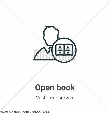 Open book icon isolated on white background from customer service collection. Open book icon trendy