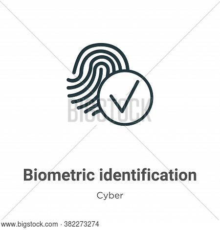 Biometric identification icon isolated on white background from cyber collection. Biometric identifi