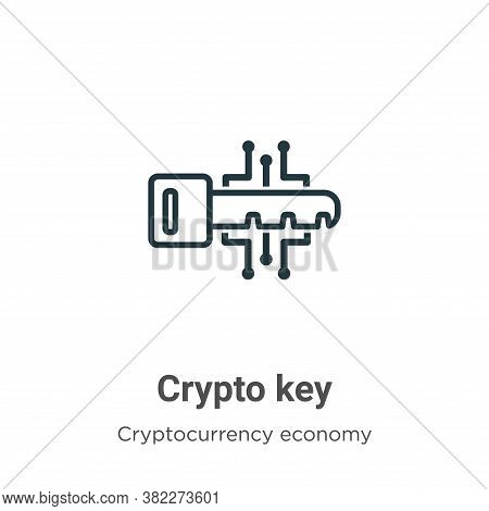 Crypto key icon isolated on white background from cryptocurrency economy and finance collection. Cry