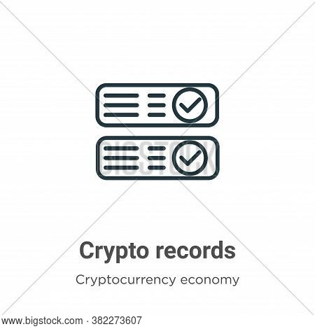 Crypto records icon isolated on white background from cryptocurrency economy and finance collection.