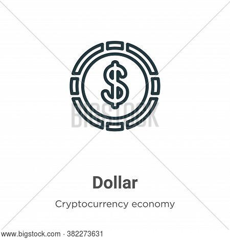 Dollar symbol icon isolated on white background from cryptocurrency economy and finance collection.