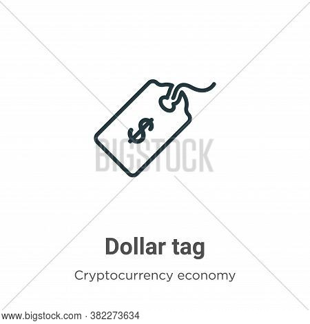 Dollar tag icon isolated on white background from cryptocurrency economy and finance collection. Dol