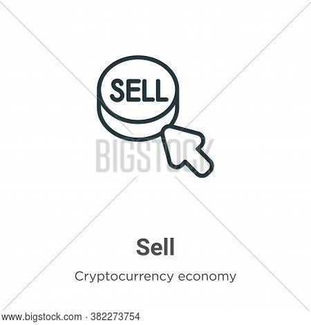 Sell icon isolated on white background from cryptocurrency economy and finance collection. Sell icon