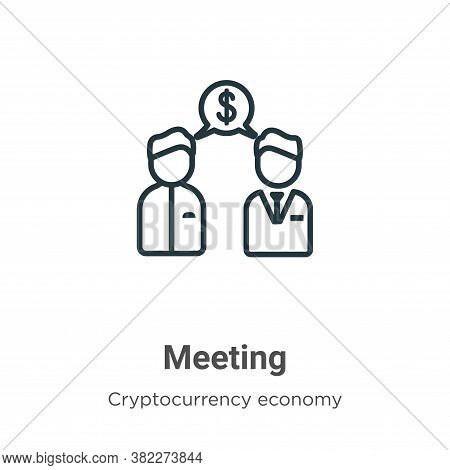 Meeting icon isolated on white background from blockchain collection. Meeting icon trendy and modern