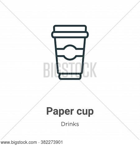 Paper cup icon isolated on white background from drinks collection. Paper cup icon trendy and modern