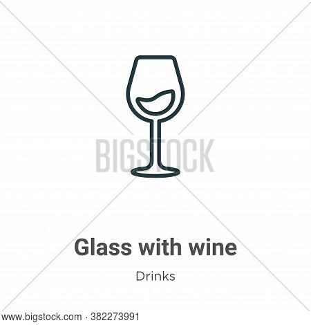 Glass with wine icon isolated on white background from drinks collection. Glass with wine icon trend
