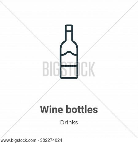 Wine bottles icon isolated on white background from drinks collection. Wine bottles icon trendy and