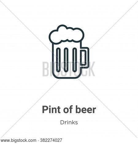 Pint of beer icon isolated on white background from drinks collection. Pint of beer icon trendy and