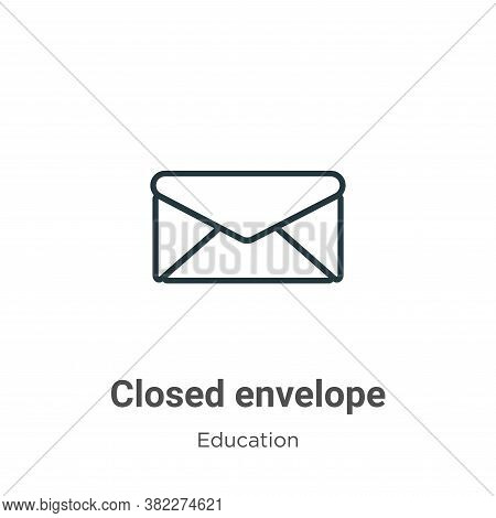 Closed envelope icon isolated on white background from education collection. Closed envelope icon tr