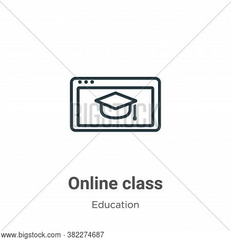 Online class icon isolated on white background from education collection. Online class icon trendy a