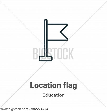Location flag icon isolated on white background from education collection. Location flag icon trendy
