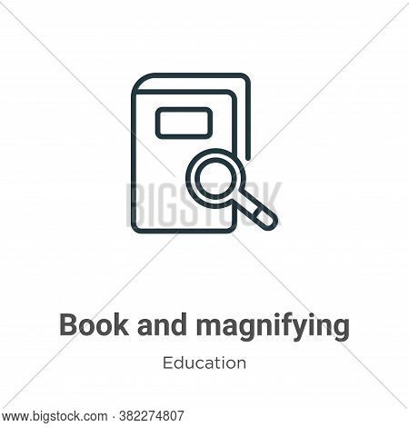Book and magnifying icon isolated on white background from education collection. Book and magnifying