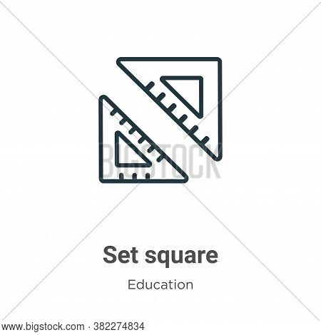 Set square icon isolated on white background from education collection. Set square icon trendy and m