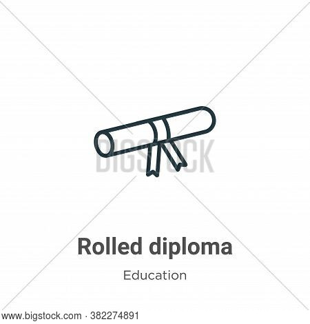 Rolled diploma icon isolated on white background from education collection. Rolled diploma icon tren