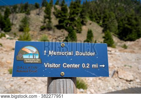 Quake Lake, Montana - July 27, 2020: Sign For The Memorial Boulder And Visitor Center Trailhead In G