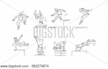 Parkour Moves Set - Cartoon People Jumping, Spinning And Doing Backflip