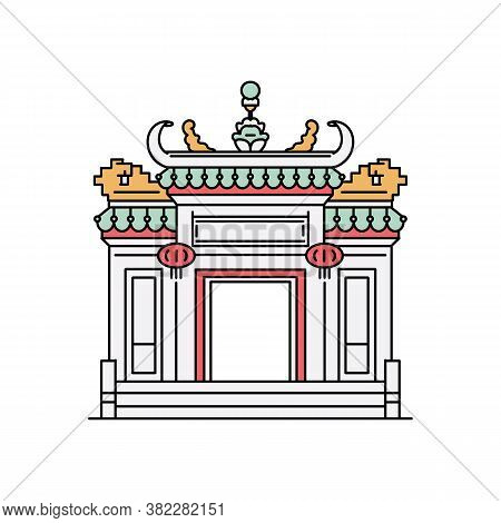 Macau City Attractions - Pagoda-style Arch, Sketch Vector Illustration Isolated.