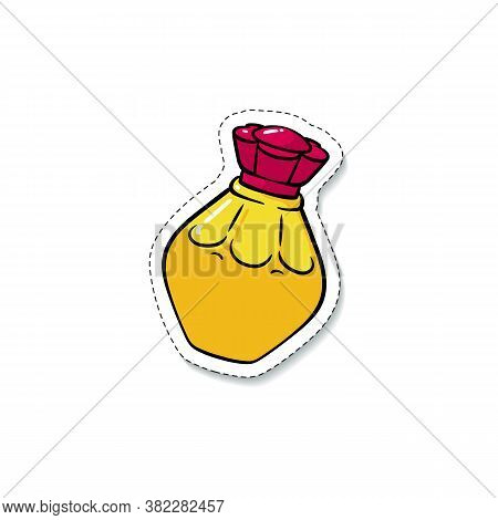 Perfume Or Fragrance Bottle Sticker In 80s Style Vector Illustration Isolated.