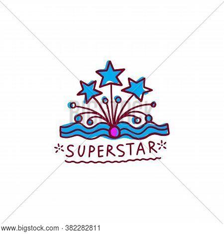 Cartoon Crown Doodle With Word Superstar - Cute Hand Drawn Tiara