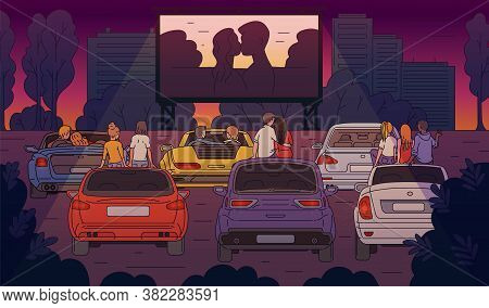 Open-air Cinema With People Watching Movie Sketch Cartoon Vector Illustration.