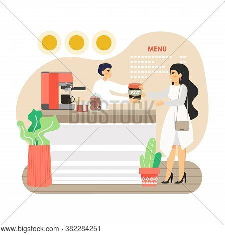 Woman, Ecologist Buying Coffee In Her Own Reusable Cup In Eco Friendly Coffee Shop, Flat Vector Illu