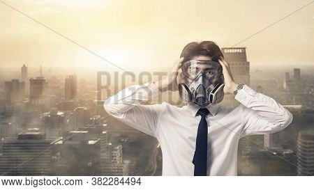 Portrait Business Man With Gas Mask He Serious Problem Dust Smog In The City, People Appeal Industry