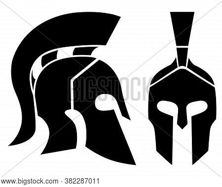 Set Of Of Spartan Helmet Silhouettes. Front And Side View. Ancient Warrior Simbol. Vector Illustrati