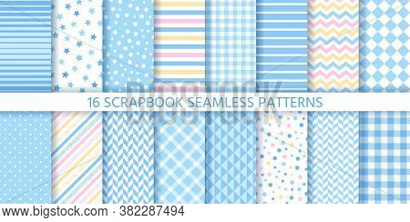Scrapbook Seamless Pattern. Baby Boy Backgrounds. Vector. Set Textures With Star, Polka Dots, Stripe