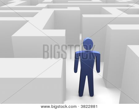 Person entering labyrinth illustration. 3d rendered image. poster