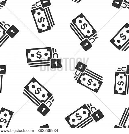 Dollar Banknote With Lock Icon In Flat Style. Dollar Cash Safe Vector Illustration On White Isolated